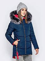 Женская темно-синяя зимняя куртка с мехом, фото 1