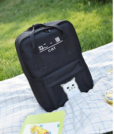 Большой тканевый рюкзак сумка  с рисунком котика