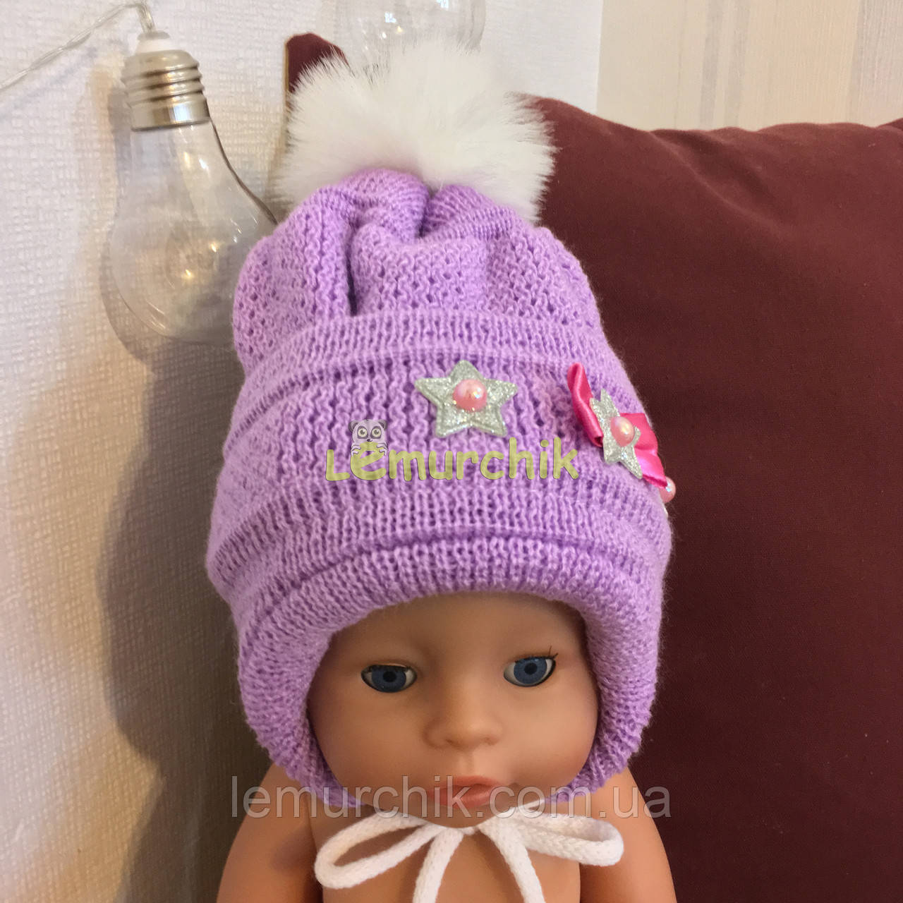 Зимова шапочка для дівчинки на флісі на рік, колір на вибір