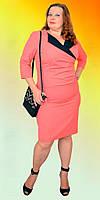 Нарядное однотонное женское платье с воротником
