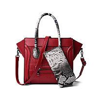 Женская сумочка и кошелек экокожа набор 2 в 1, бордовый, фото 1
