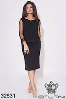 Черный юбочный костюм с бахромой на рукавах с 48 по 62 размер, фото 2
