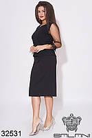 Черный юбочный костюм с бахромой на рукавах с 48 по 62 размер, фото 3