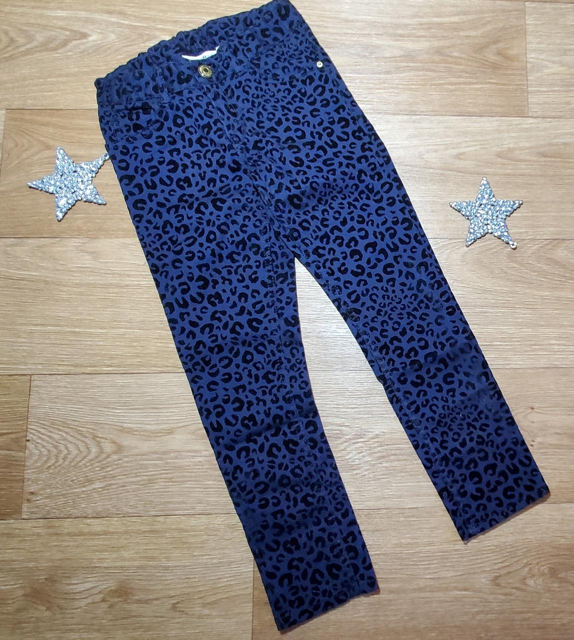 Стильные темно синие брюки скинни с бархатным рисунком на девочку H&M (Англия) (Размер 6-7Т)