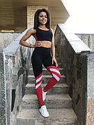 Костюм для фитнеса топ и лосины Black&Red