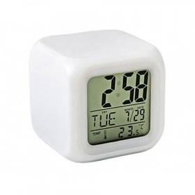 Часы с термометром, будильником и подсветкой, MTK mini, хамелеон (44275)