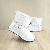 39 розмір Уггі білі кросівки спортивні еко шкіра на хутрі з обручем теплі зимові хутряні