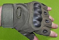 Рукавички тактичні OAKLEY BC-4624-G з відкритими пальцями репліка темно-зелені