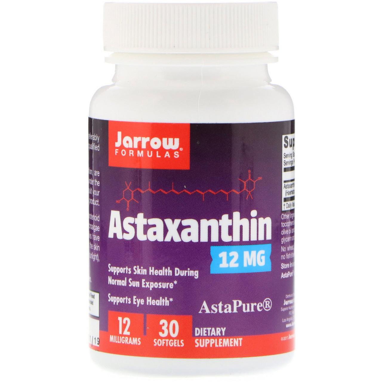 Астаксантин, Jarrow Formulas, 12 мг, 30 капсул