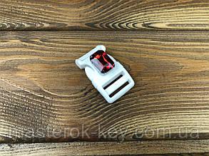 Фастекс пластиковый с камнем 019137 20мм цвет белый+красный