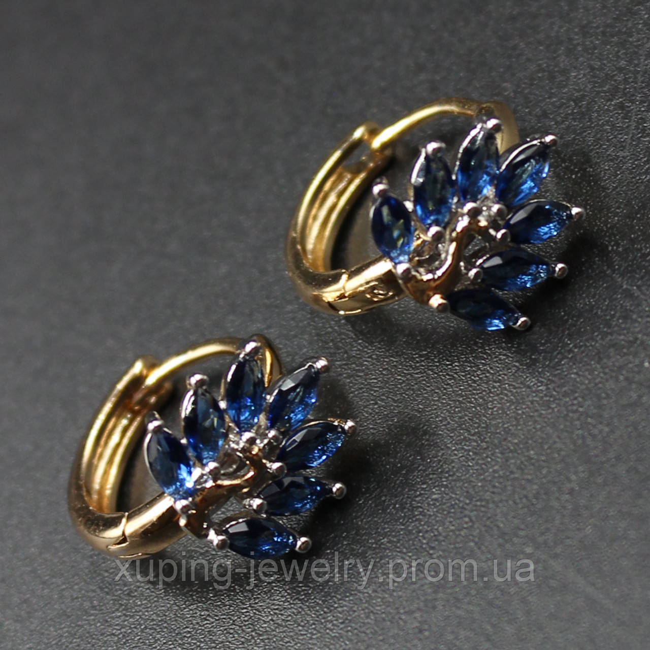 "Серьги женские ""Agazillis Blue Lux"" Xuping Jewelry (позолота)."