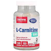 L-карнитин, L-Carnitine, Jarrow Formulas, 500 мг, 100 капсул