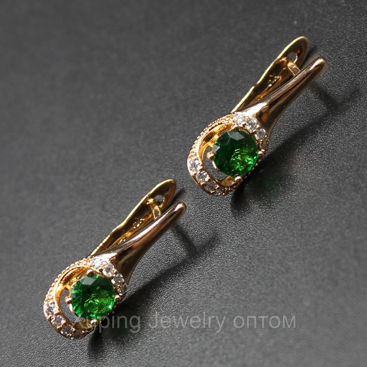 "Серьги женские ""Anagallis Green"" Xuping Jewelry (позолота)."