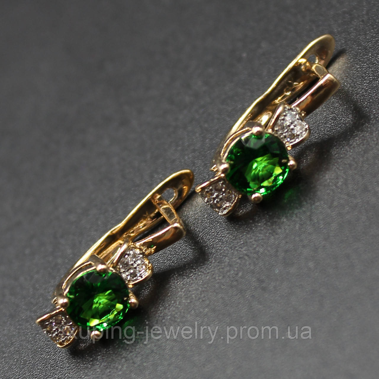 "Серьги женские ""Antilis Green"" Xuping Jewelry (позолота)."