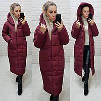 Куртка кокон длинная зимняя в стиле одеяло M500 бордовый / вишневый / цвет бордо / тёмно красный