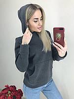 Женская теплая кофта с капюшоном /серая, 42-44(универсал), ft-460/