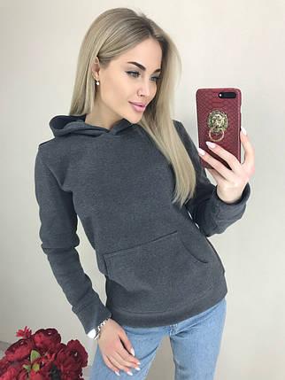 Женская теплая кофта с капюшоном /серая, 42-44, ft-460/, фото 2