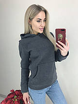 Женская теплая кофта с капюшоном /серая, 42-44, ft-460/, фото 3