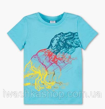 Голубая футболка с динозавром, биохлопок на мальчика 4 - 5 лет, р. 110, Palomino / C&A