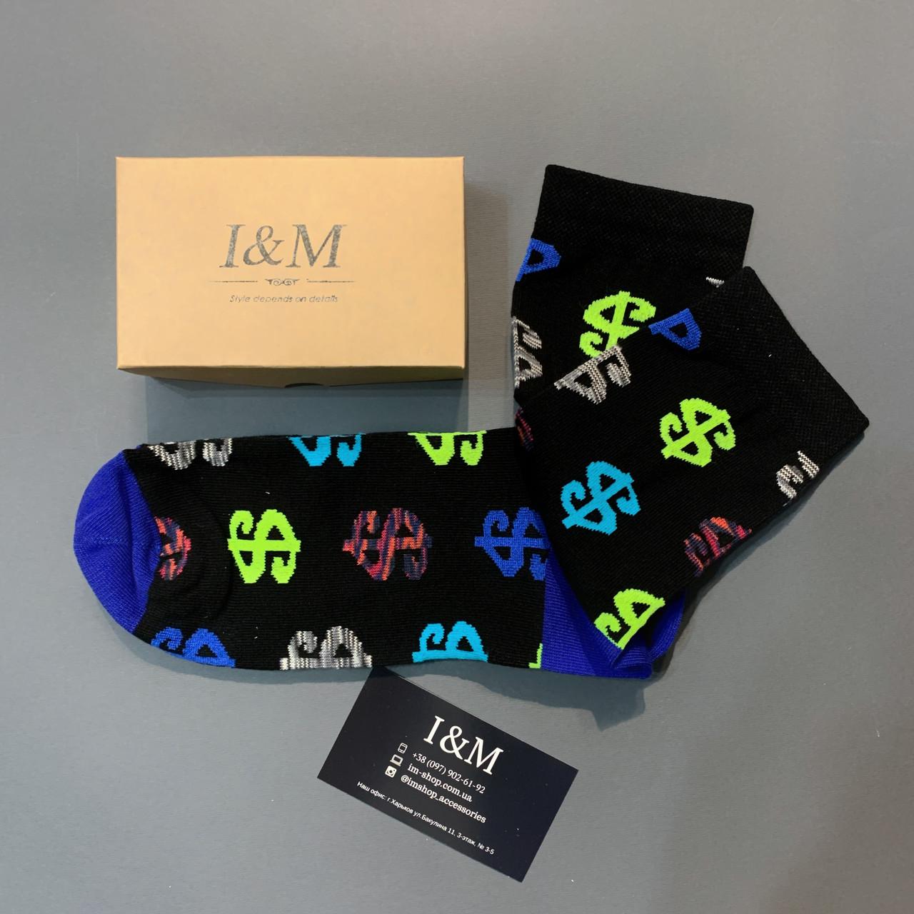 Носки I&M Craft  черные с значком доллара (070306)