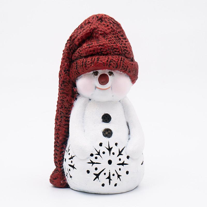 Статуетка LED Польща Villa Grazia Premium Сніговик в капелюсі 28 см (4722-7)