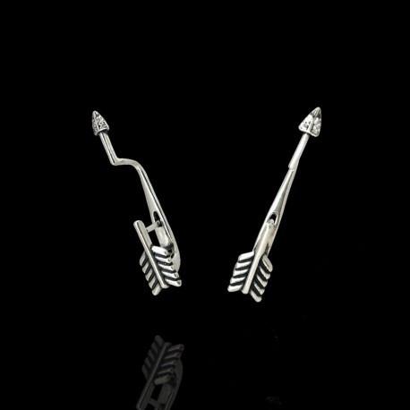 Серебряные серьги каффы в форме стрелы без камней 925 проба