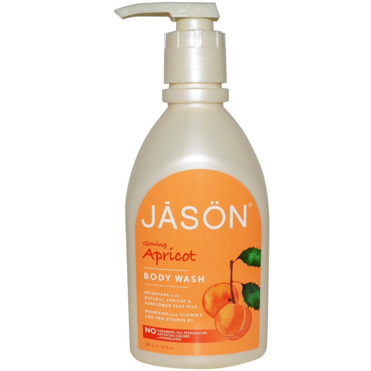 Гель для душа, абрикос, Jason Natural, 887 мл