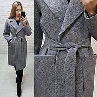 Зимнее пальто кашемировое теплое арт. 175 / серый меланж (цвет 8)