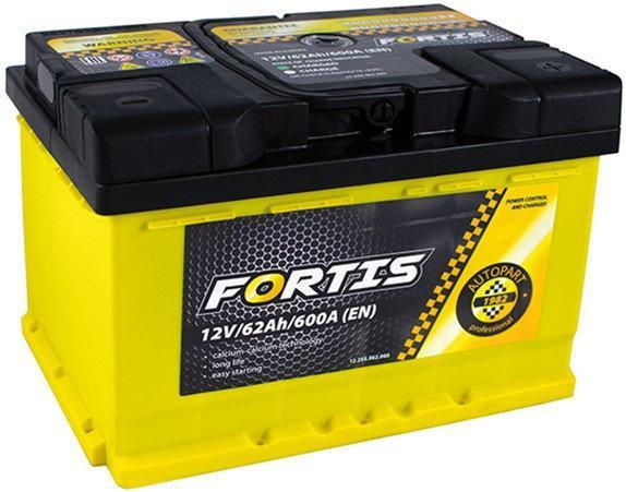 Аккумулятор автомобильный 6СТ-62Ач. 600A. FORTIS