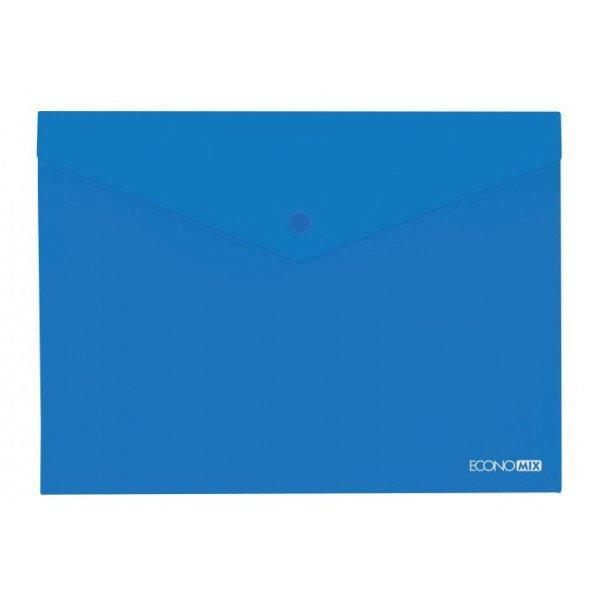 Папка-конверт А5 прозрачная на кнопке Economix, 180 мкм синяя глянец E31316-02