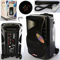 Колонка X15704 (Q-08)  р/у,аккум/от сети,микрофон,свет,Bluetooth,FM,USB, коробка 30,5-44-29 см