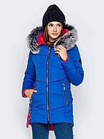 Синяя женская удлиненная зимняя куртка с меховым капюшоном