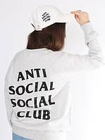 Свитшот серый с принтом assc   кофта anti social social club