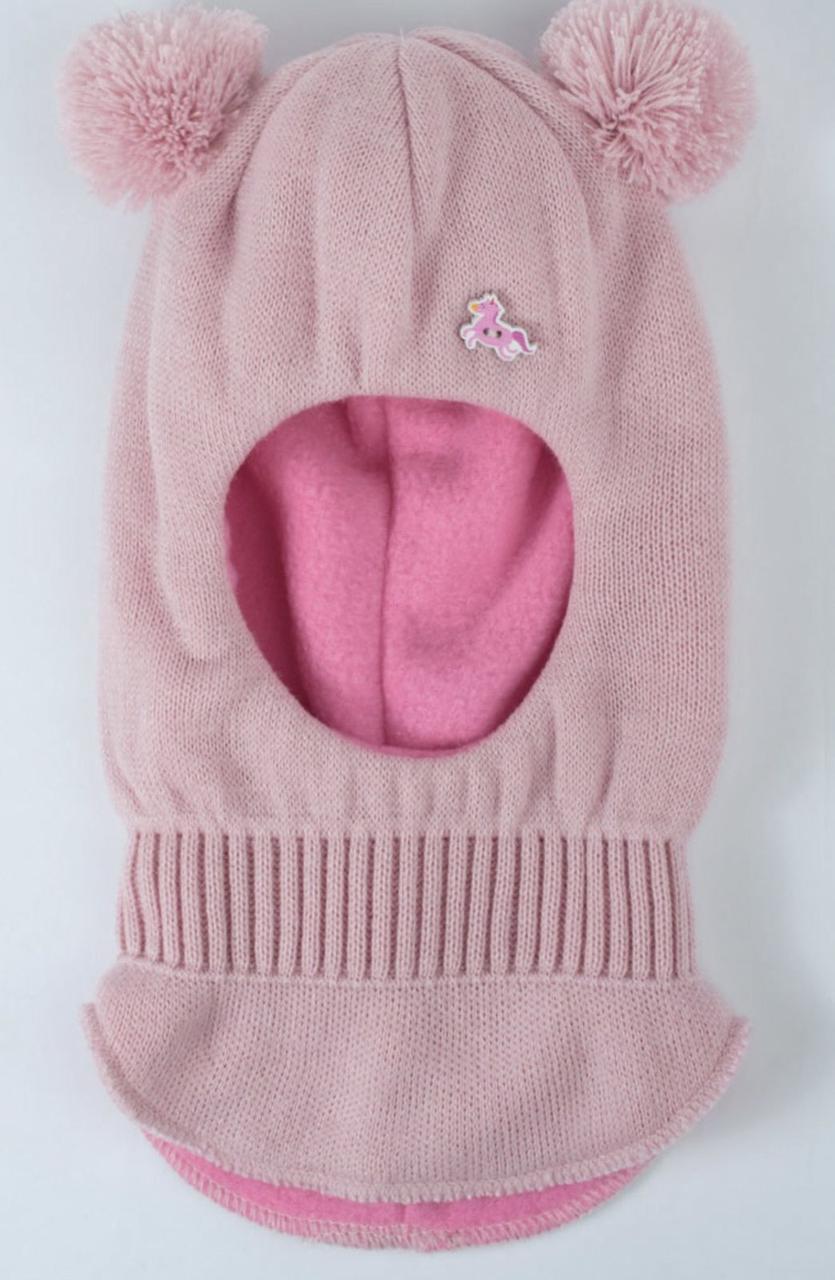 Шапка-шлем для маленькой девочки с помпонами. Размер шапочки - 46-48
