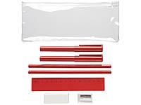 Набор Mindy: ручки шариковые, карандаши, линейка, точилка, ластик, красный