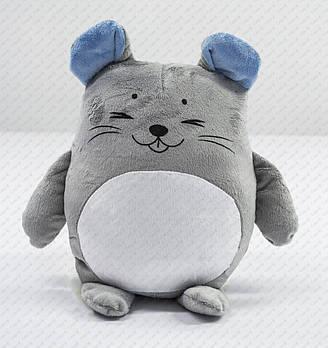 """Подушка-іграшка """"Мишеня 20201"""" плюшева з місцем для сублімації з блакитними вушками"""