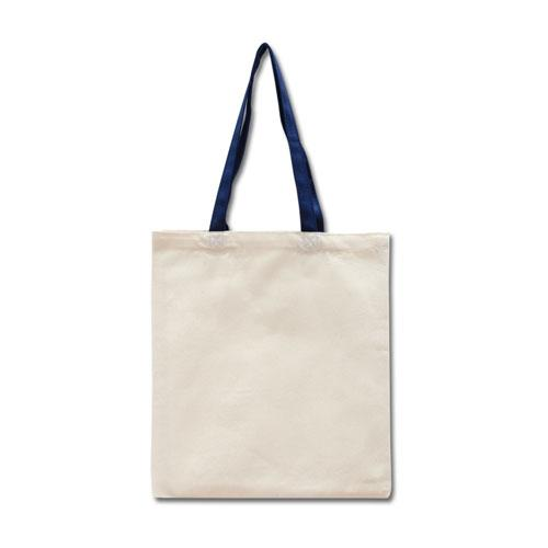 Эко-сумка из хлопка с синими ручками