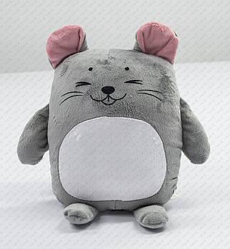 """Подушка-игрушка """"Мышонок 20201"""" плюшевая с местом для сублимации с розовыми ушками"""