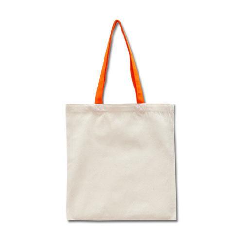 Эко-сумка из хлопка с оранжевыми ручками