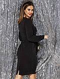 Вечірній блискуче приталене плаття з довгим рукавом на манжеті і поясом в комплекті, фото 2
