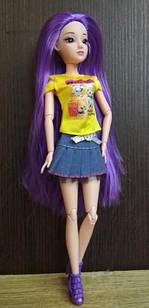 Шарнірна лялька з довгим волоссям і фіолетовими скляними 3D очима + одяг та взуття