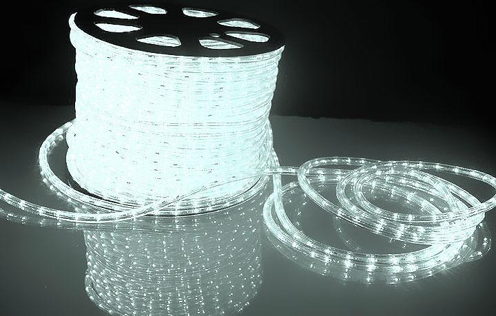 """Уличная Герметичная Светодиодная гирлянда Дюралайт """"Rope Light"""" 100 метров Белый, 1800 LED прозрачный силиконо"""