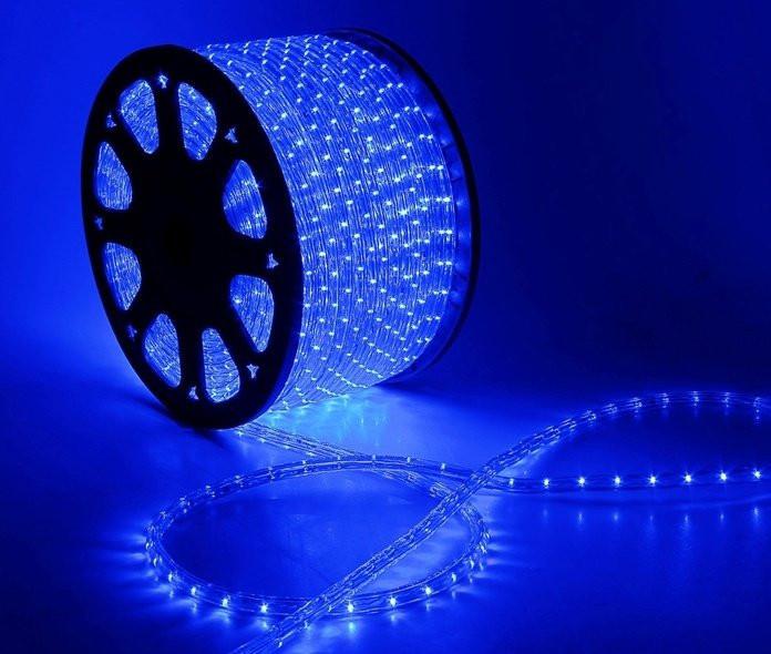 """Наружная Герметичная LED гирлянда Дюралайт """"Duralight"""" 100 метров Синий, 1800 Ламп прозрачный силиконовый шлан"""