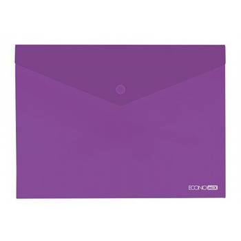 Папка-конверт А5 прозрачная на кнопке Economix, 180 мкм фиолетовая глянец E31316-12