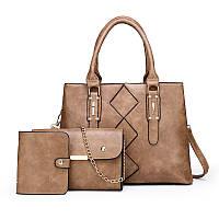 Женская сумка в наборе 3 в 1 + мини сумочка+ визитница, экокожа, бежевый, опт, фото 1