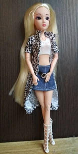 Шарнірна лялька Емма з довгими білими волоссям і скляними 3D очима + одяг та взуття