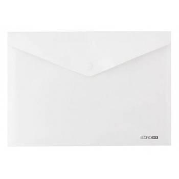Папка-конверт А5 прозрачная на кнопке Economix, 180 мкм белая глянец E31316-14