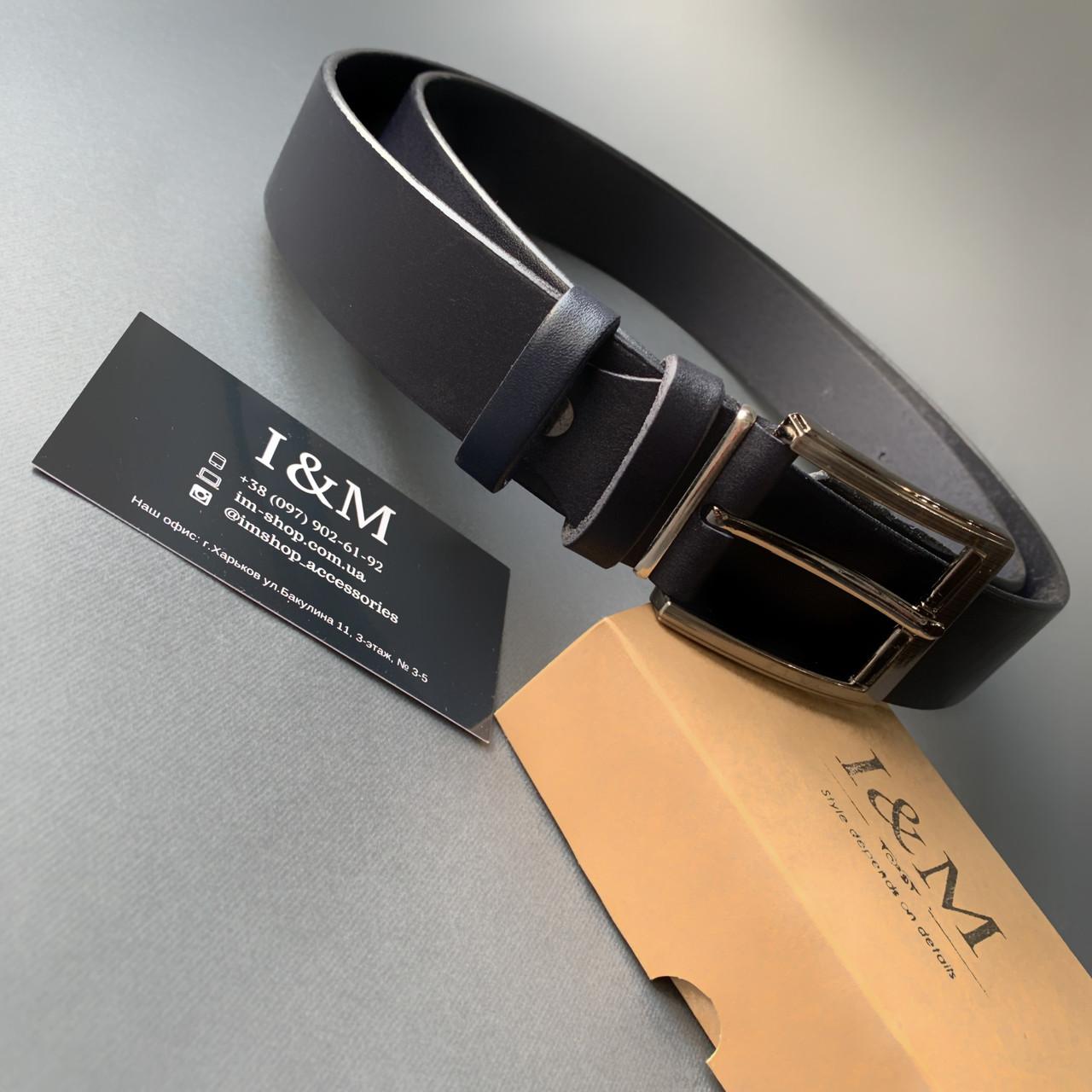 Ремінь I&M Craft з натуральної шкіри темно-синій (R100123)