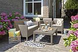 Стол садовый уличный Allibert Lyon Table Rattan Cappuccino ( капучино ) из искусственного ротанга, фото 2
