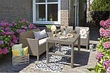 Стол садовый уличный Allibert Lyon Table Rattan Cappuccino ( капучино ) из искусственного ротанга, фото 3